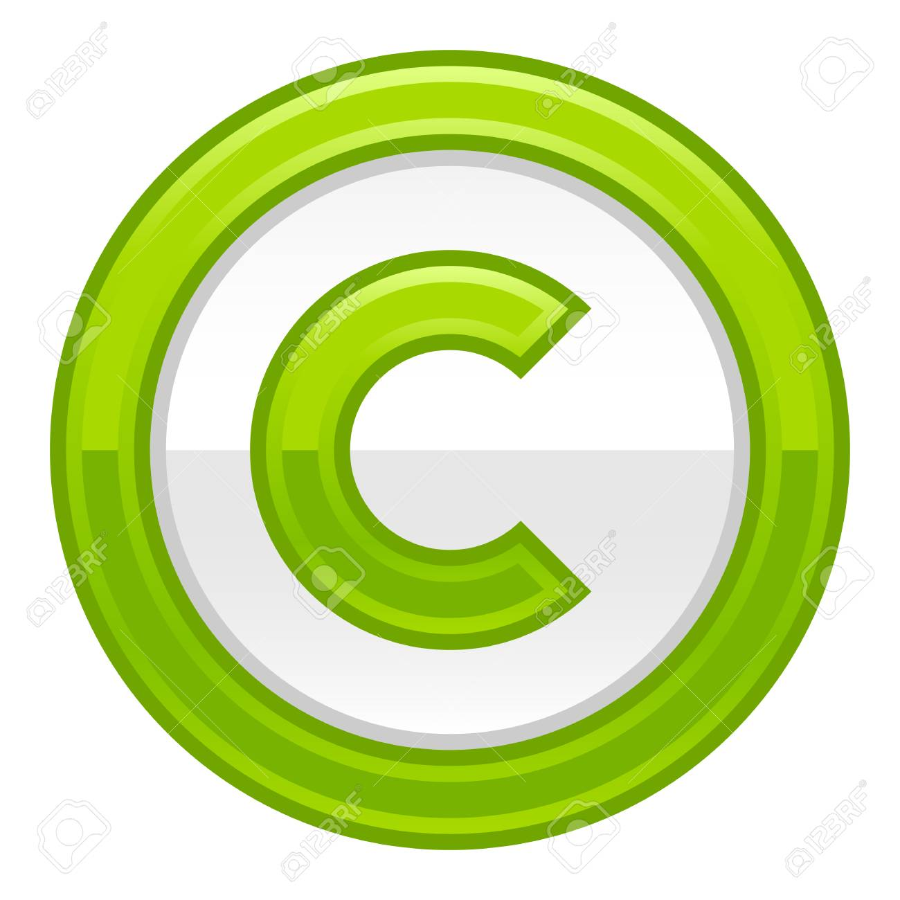 The Copyright Symbol In Green Rounded Glossy Button Web Internet