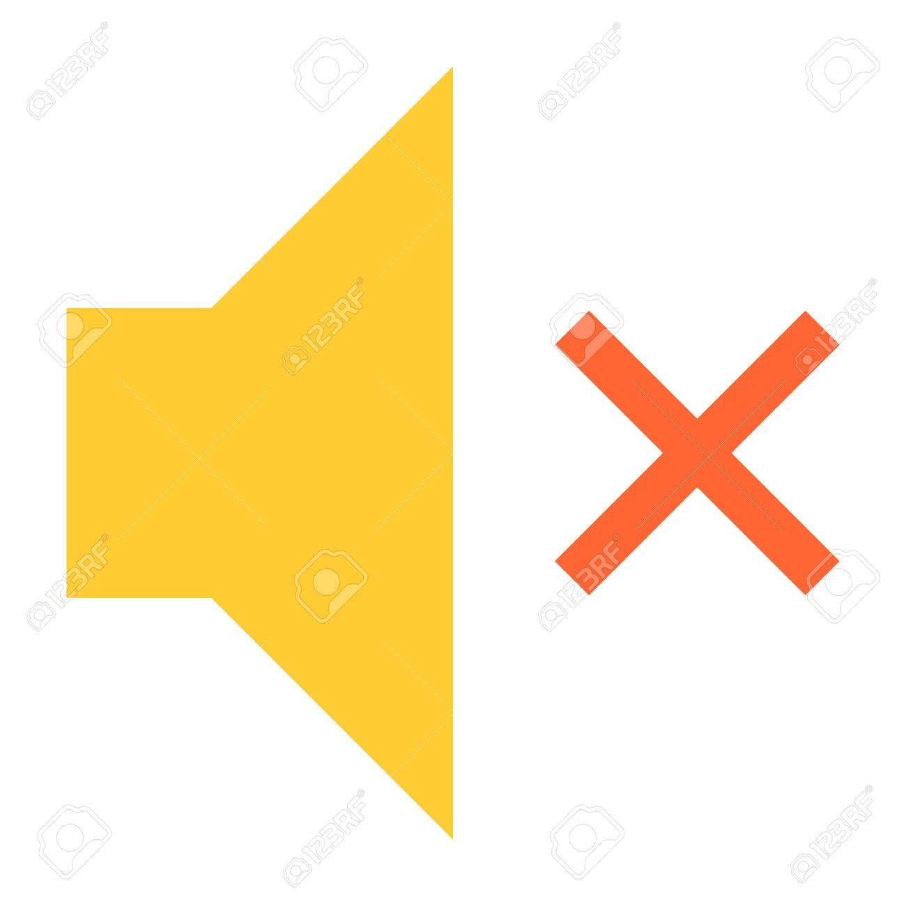 Flache Lautstärke-Mute-Symbol Lautsprecher Zeichen Lautsprecher ...