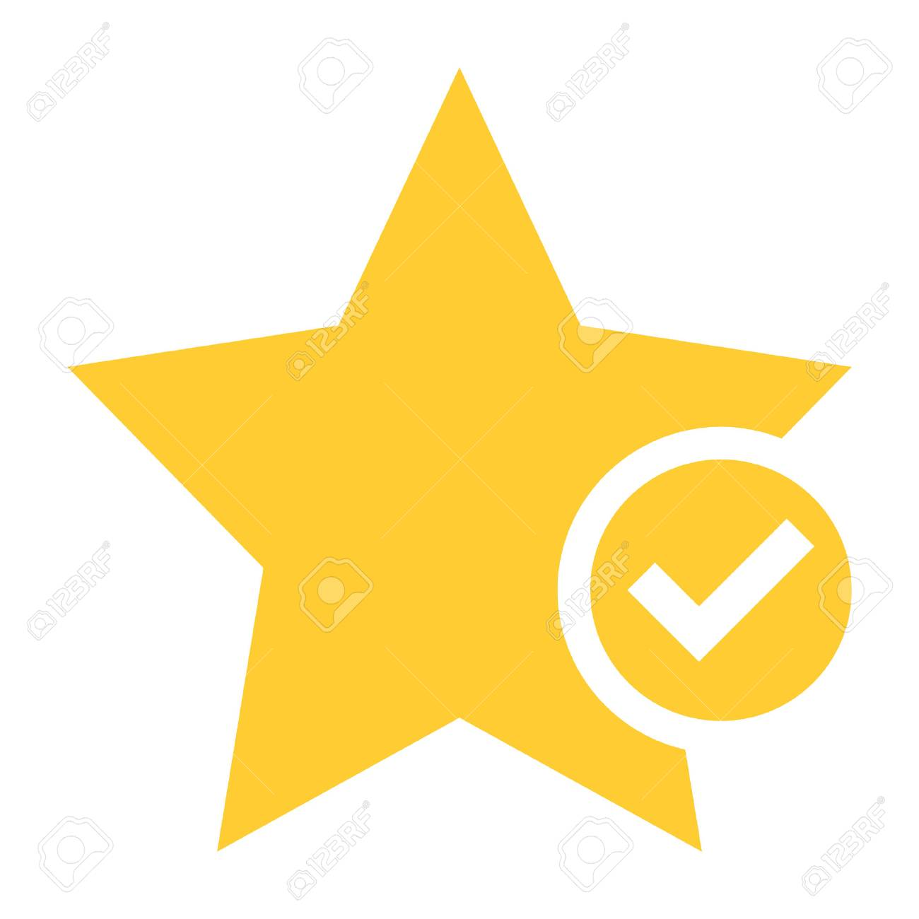 Flat star icon favorite sign bookmark yellow gold button with check mark pictogram. Vector illustration a graphic element for web internet design - 85723174