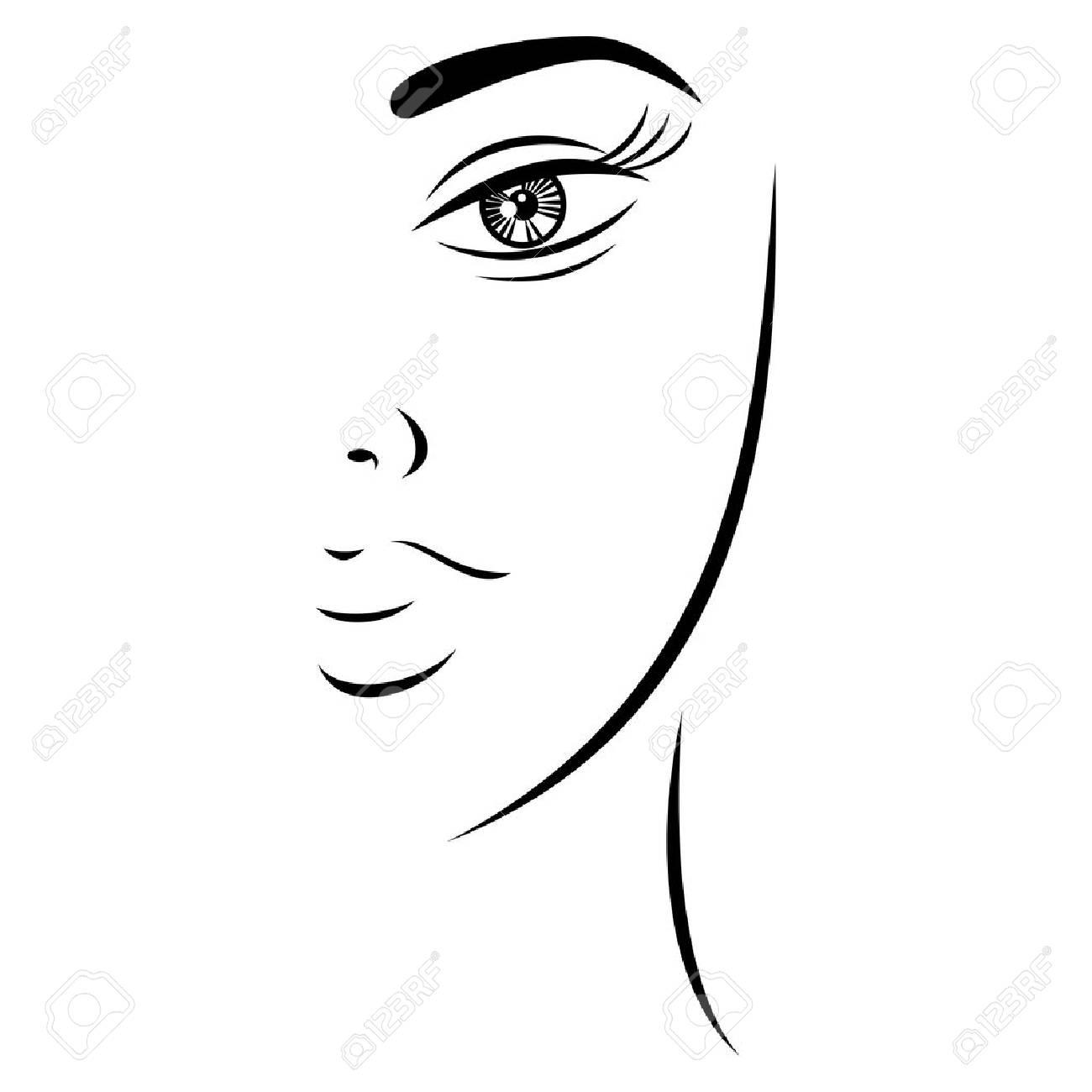 Esquisse Dessin Joli Visage De Femme Avec Un Regard Mystérieux Forme Recolorable Rapide Et Facile Isolée Du Fond Illustration Vectorielle Un élément