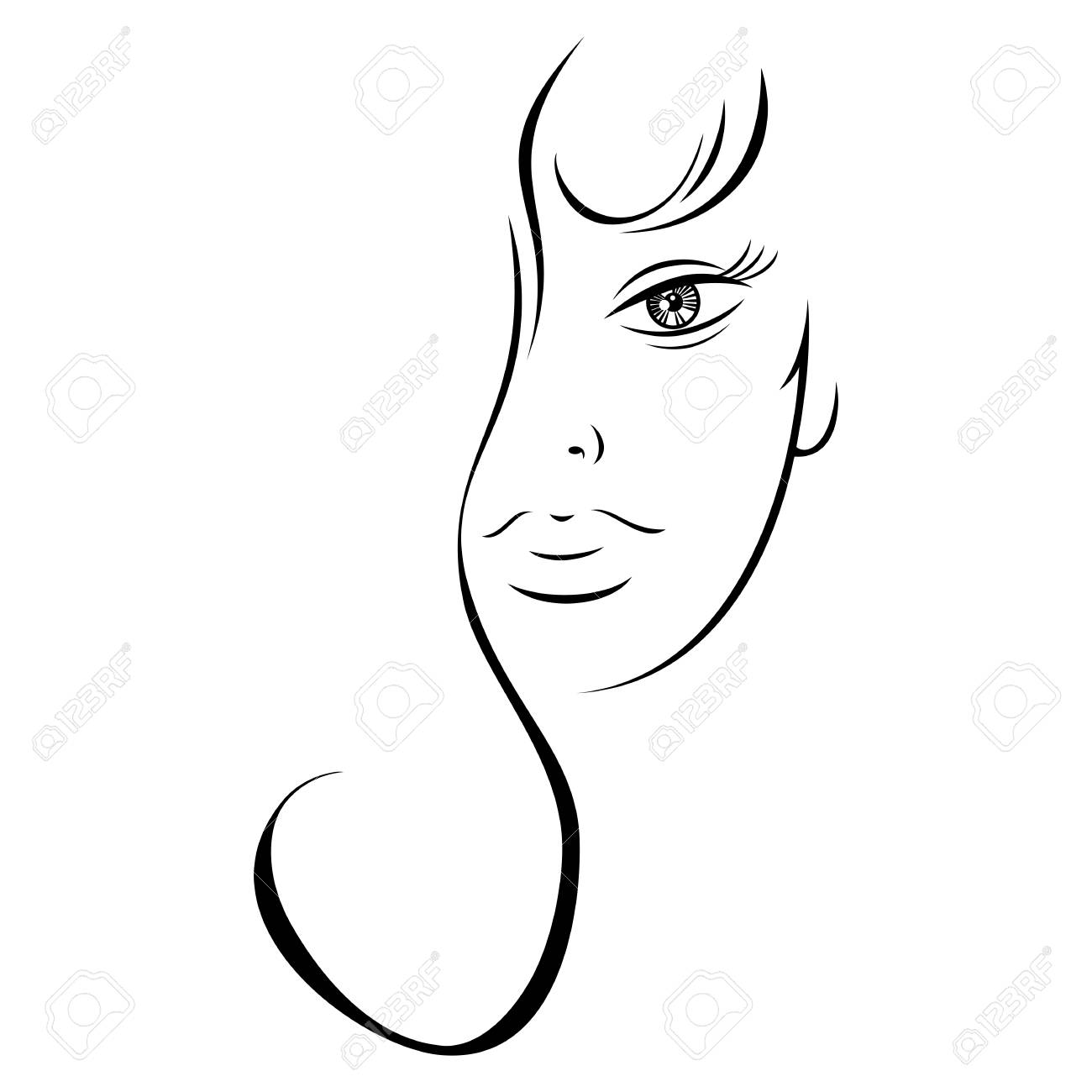 Contour drawing sensual woman face with long hair