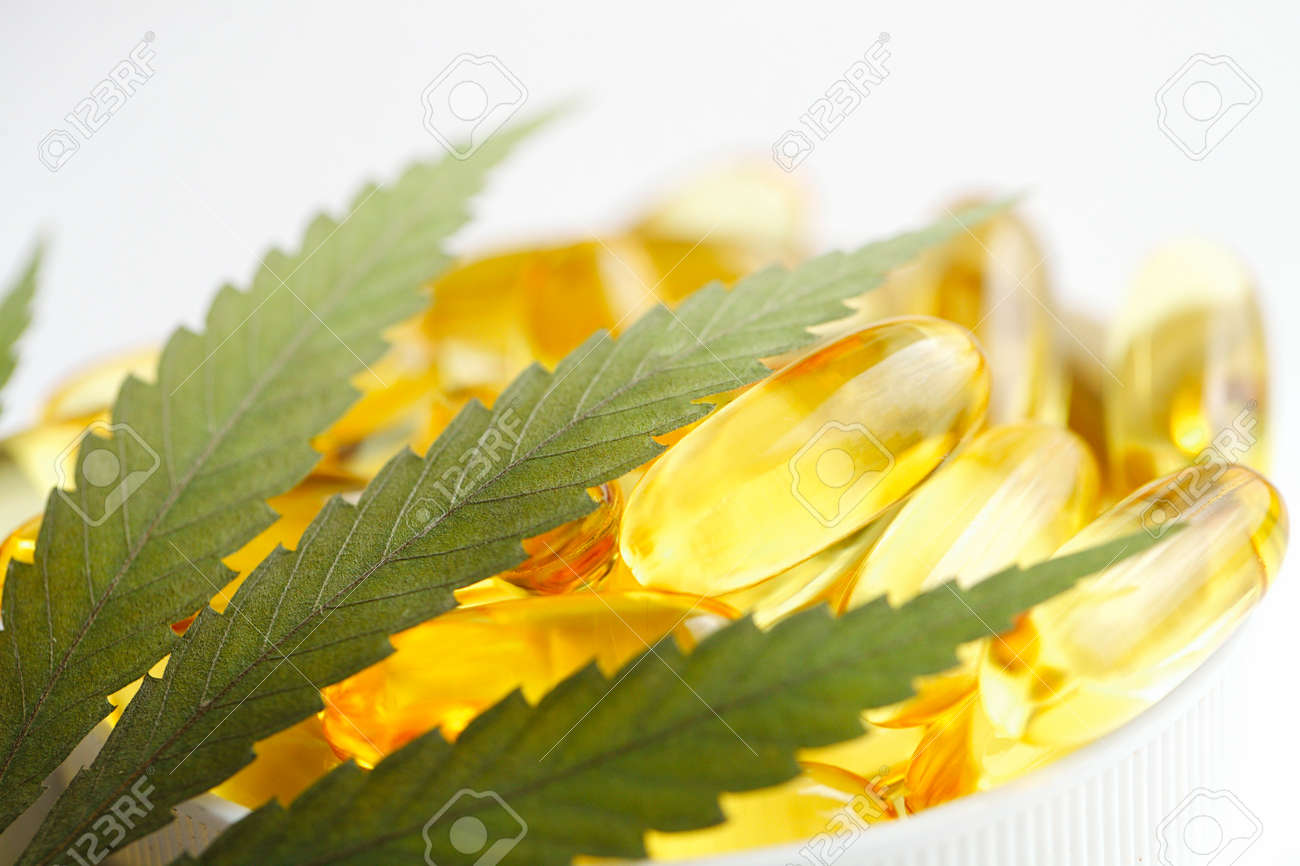 Cannabis CBD Tablets, Hemp CBD Oil Gelatin Capsules, Edible Organic Food Supplements - 169732250