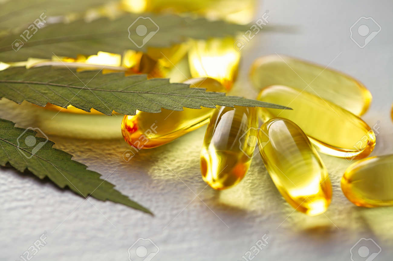 Cannabis Hemp Oil or CBD Oil Capsules, Food Organic Food Supplements. Alternative medicine concept. Cosmetics and skin care products - 169732251