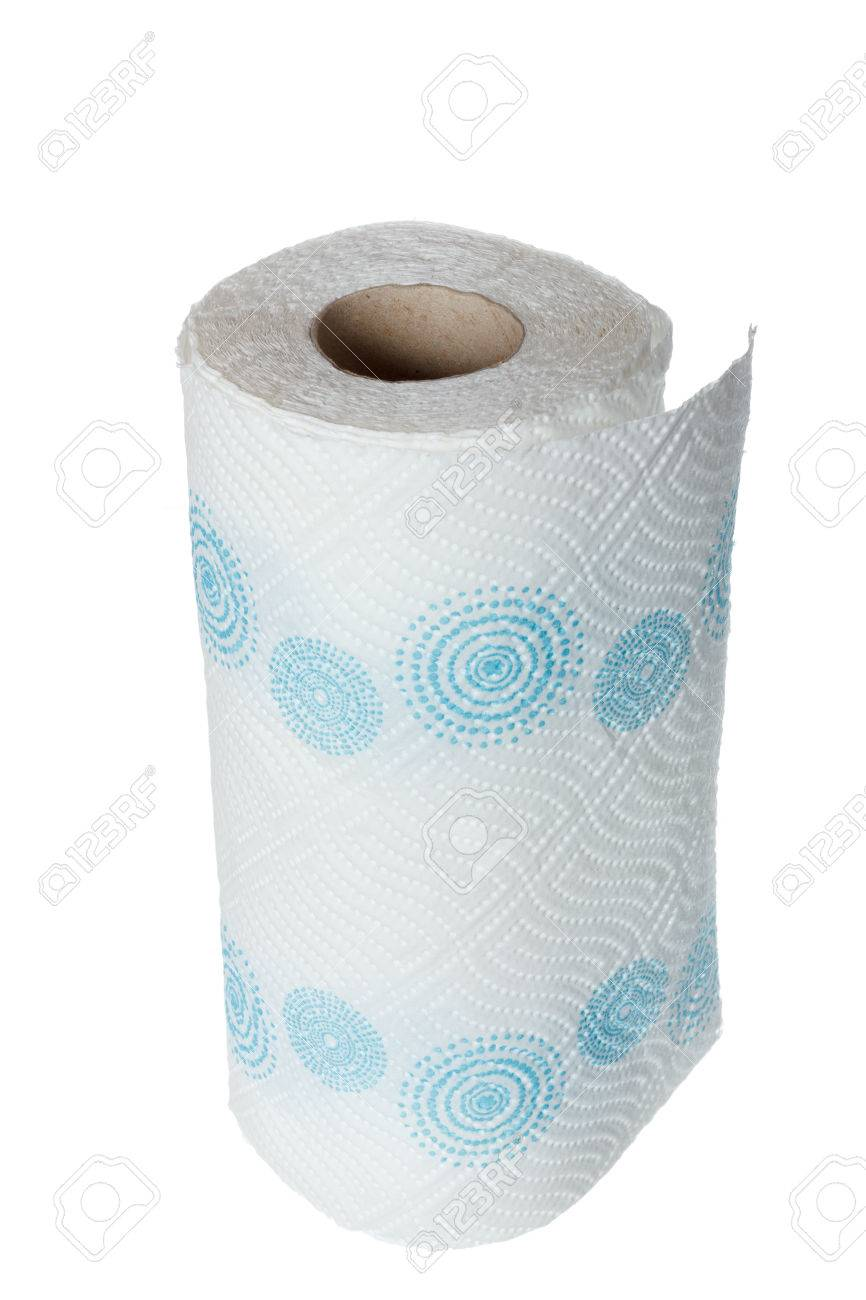 Napkin Paper Towel Kitchen Roll With Blue Patterns. Object Isolated ...
