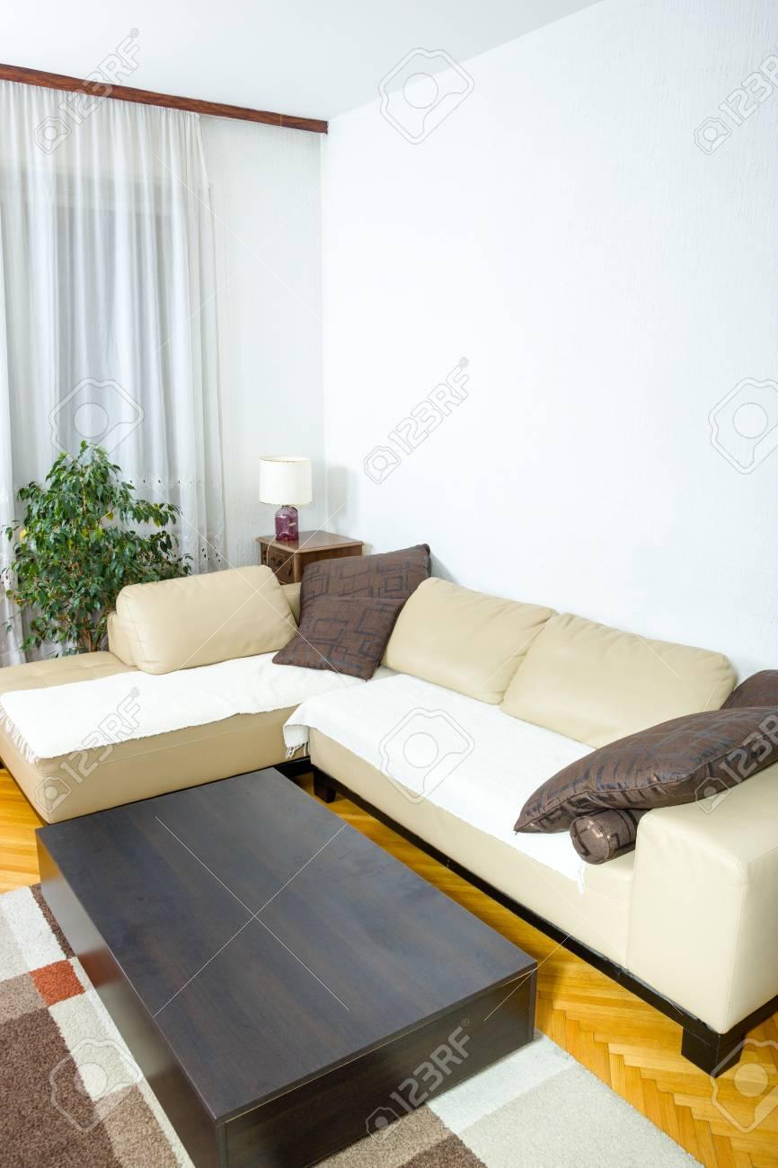 Sala De Estar O Interior Con Diseño Moderno Y Elegante Con Sofá Con Cojines Y Mesa Baja Contemporánea Concepto Clásico De Un Horario Agradable Y