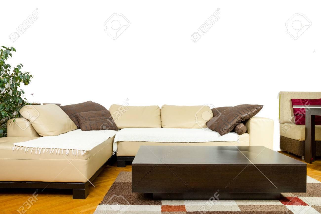 Tapis Et Canapé D Angle vide salon avec canapé angulaire, le dîner-wagon, plante, rideaux, vase,  tapis et revêtements de sol. intérieur en design moderne et classique,