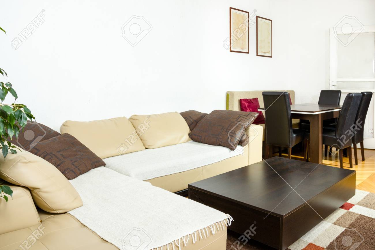 Elegent Large Living Room With Stylish Dining Table And Chairs Next To Apartment For Business