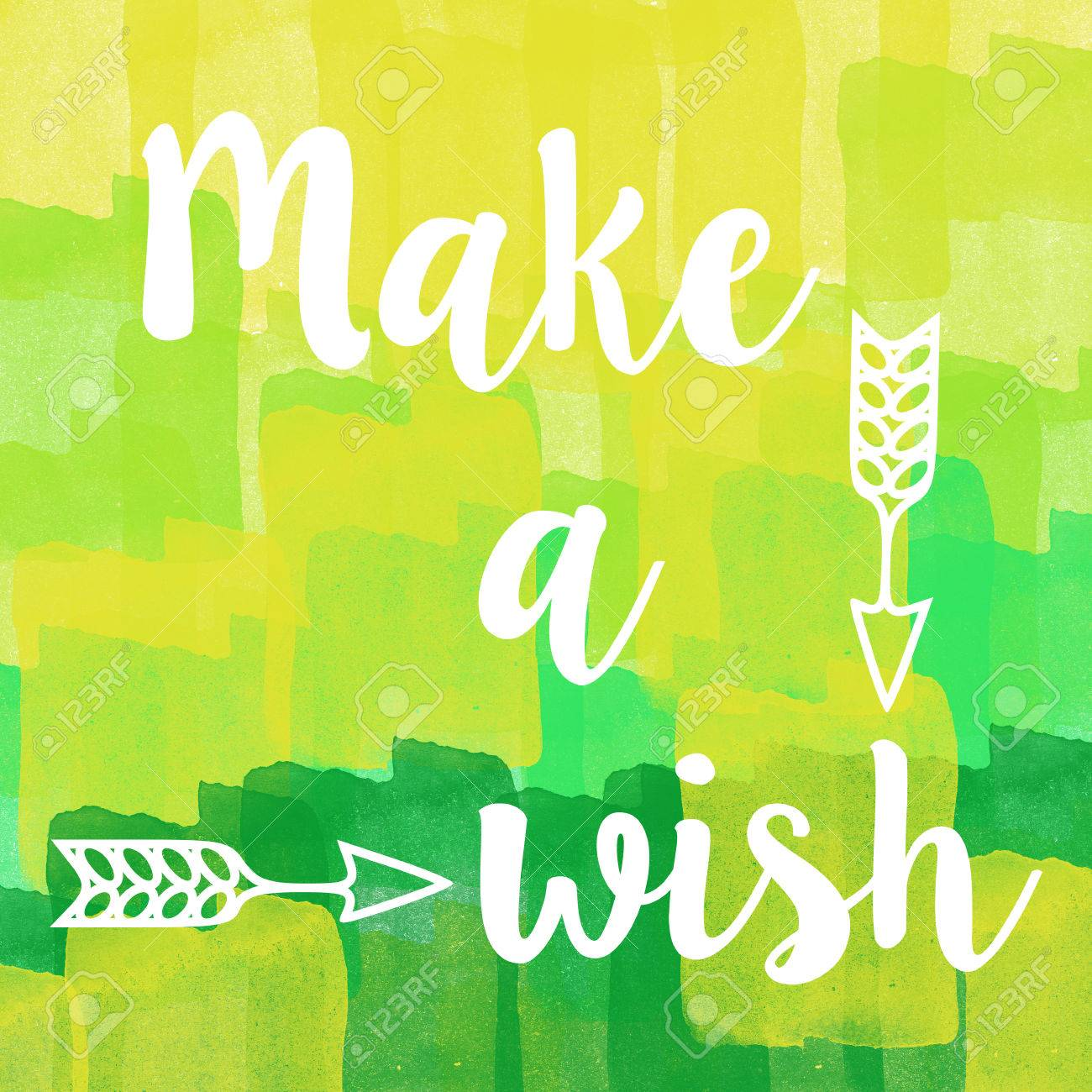 Make A Wish Quotes Make A Wish Quote On Abstract Green Brush Stroke Backgroundstock
