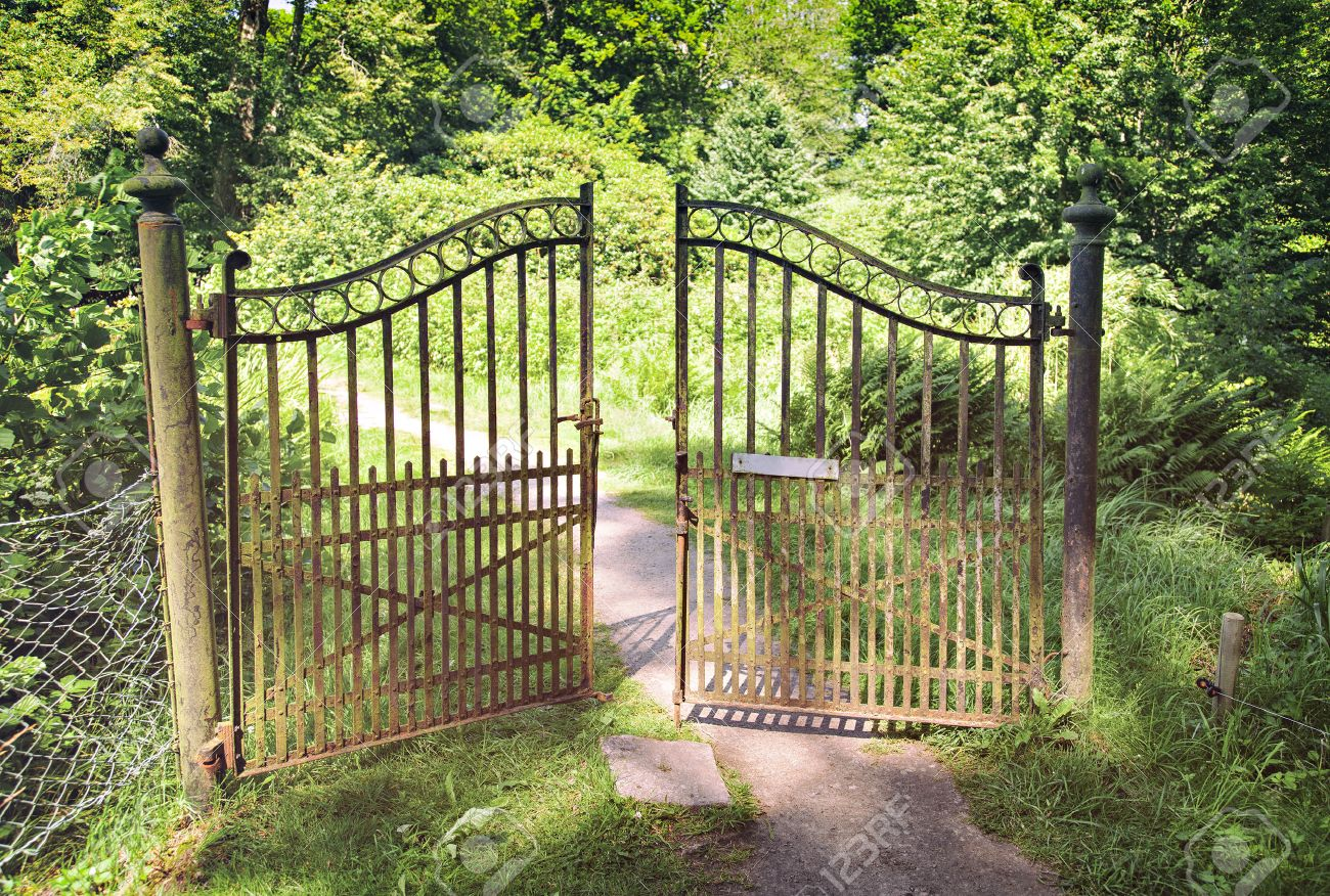 Garden Gate: Image Of Antique Wrought Iron Gate. Stock Photo