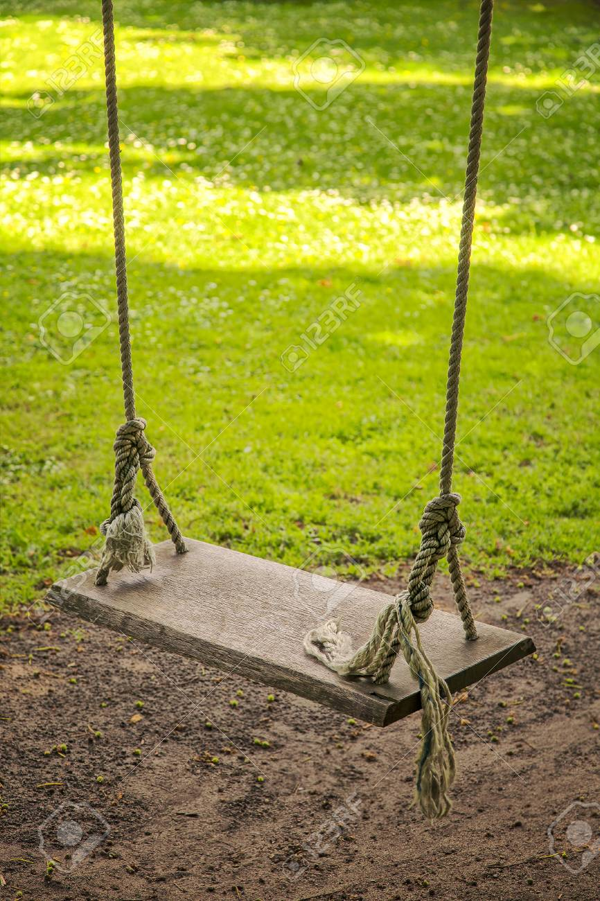 Image Of A Wooden Garden Swing For One