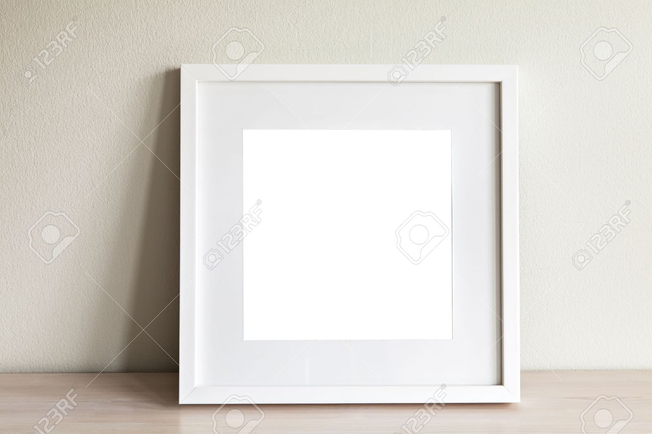 Image Of Mockup Scene With White Square Frame. Stock Photo, Picture ...