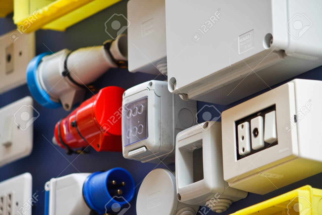 Electrical colorful switches and sockets Stock Photo - 7453809
