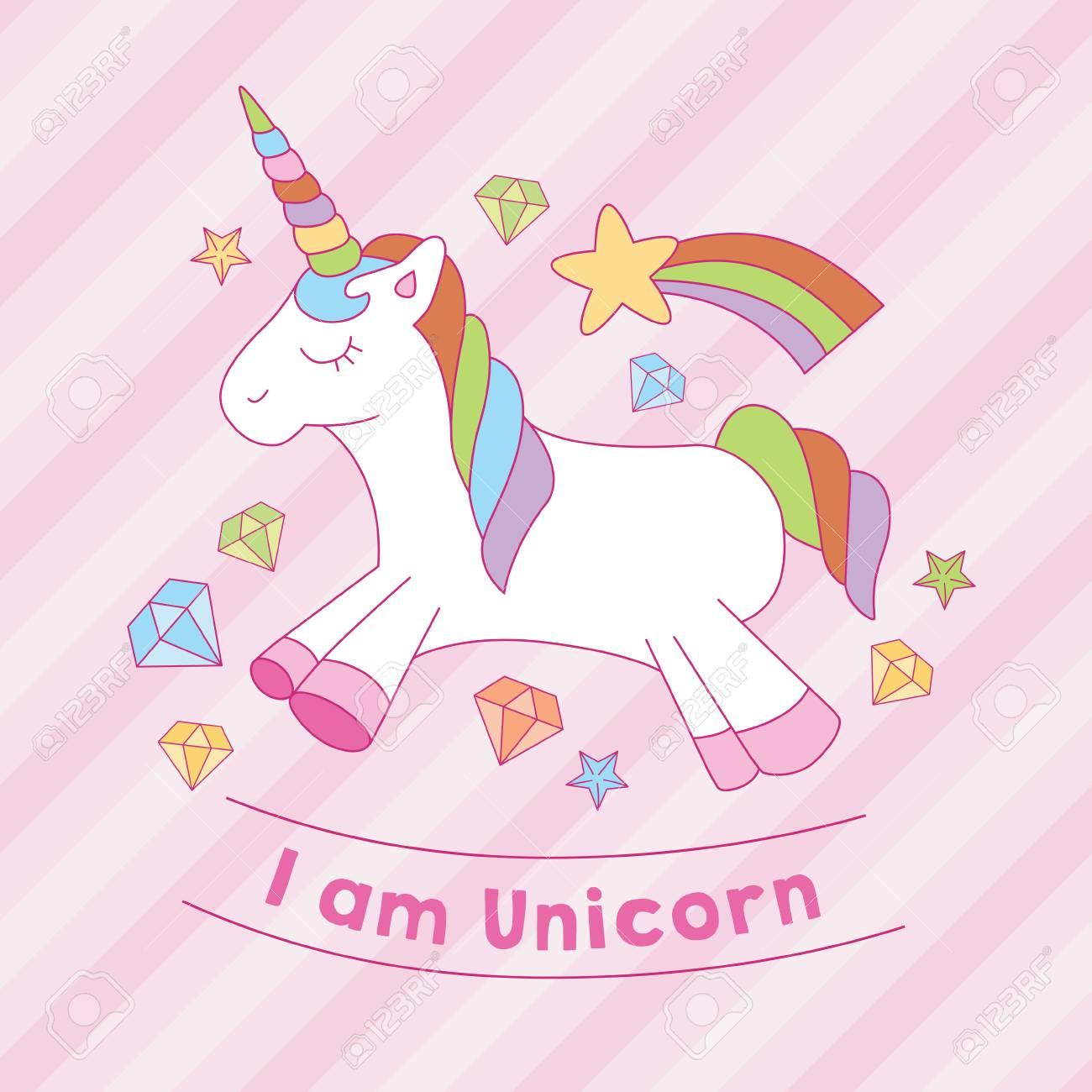 I Am Unicorn Print With Diamond Star Stripe Background Royalty