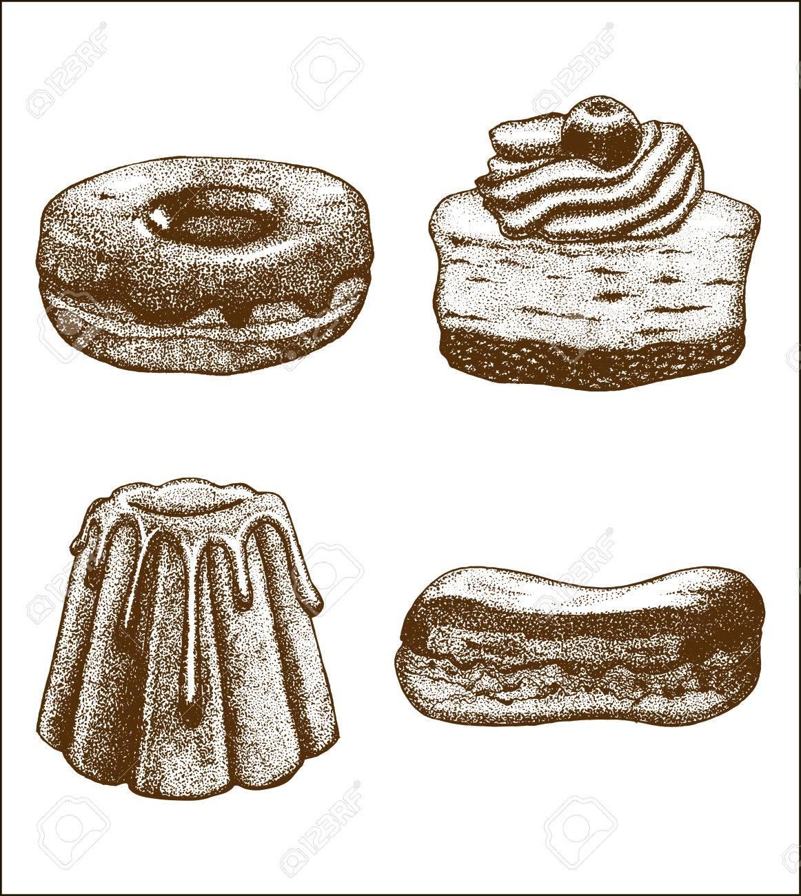 Vektor Hand Gezeichnet Von Donut Geback Kuchen Eclair Eingestellt
