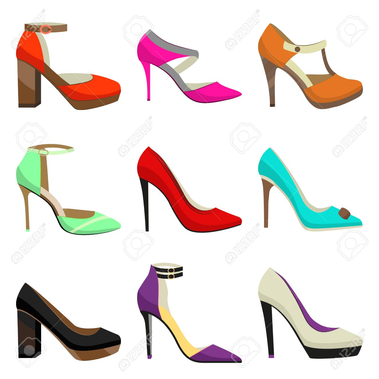bd59dfe6d1d Woman High Heel Shoes Set. Fahionable Colorful Shoes in Cartoon..