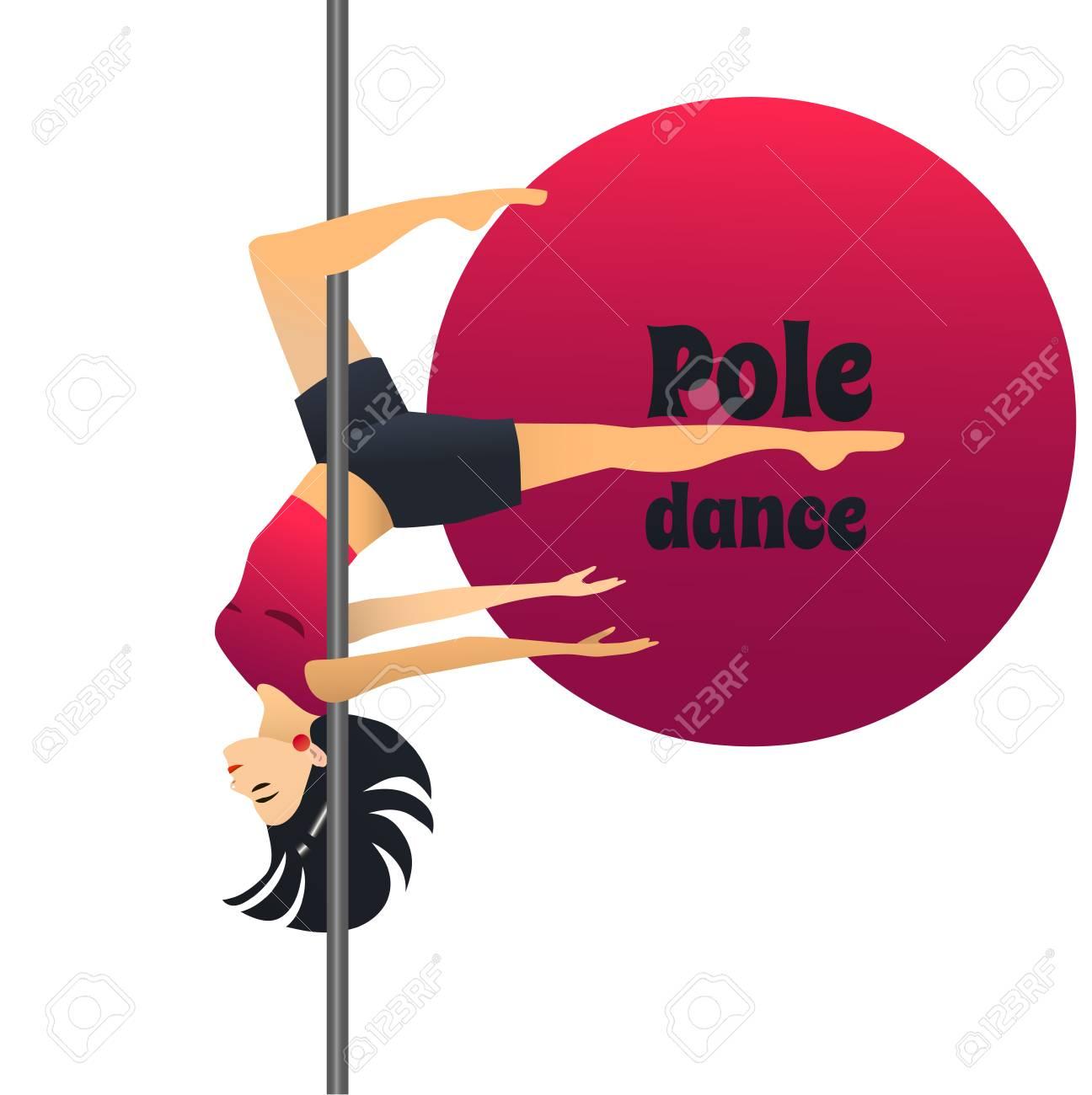 Pole Dancer Dancing Girl In Cartoon Style For Fliers Posters Banners Prints Of Dance School