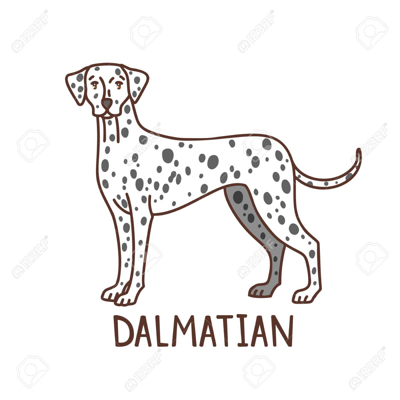 Isolated Dalmatian in Hand Drawn Doodle Style - 137329785