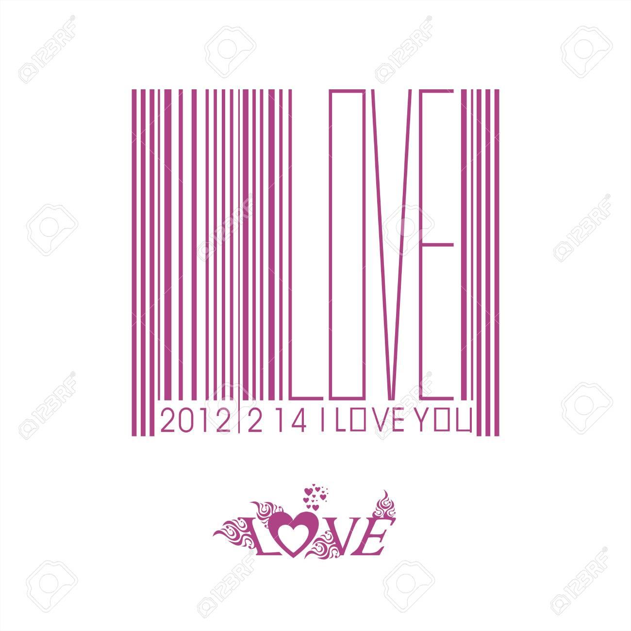 Valentine s Day bar code Stock Vector - 12749130