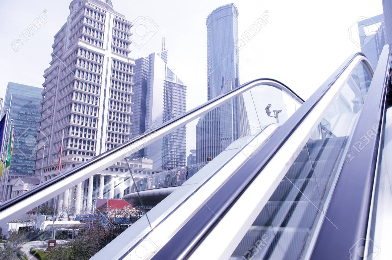 Shanghai Elevator and Building Stock Photo - 13370213