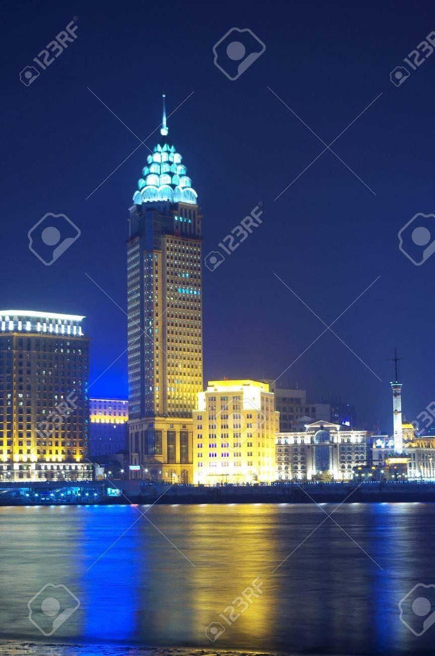 China Shanghai skyline night Stock Photo - 13368015