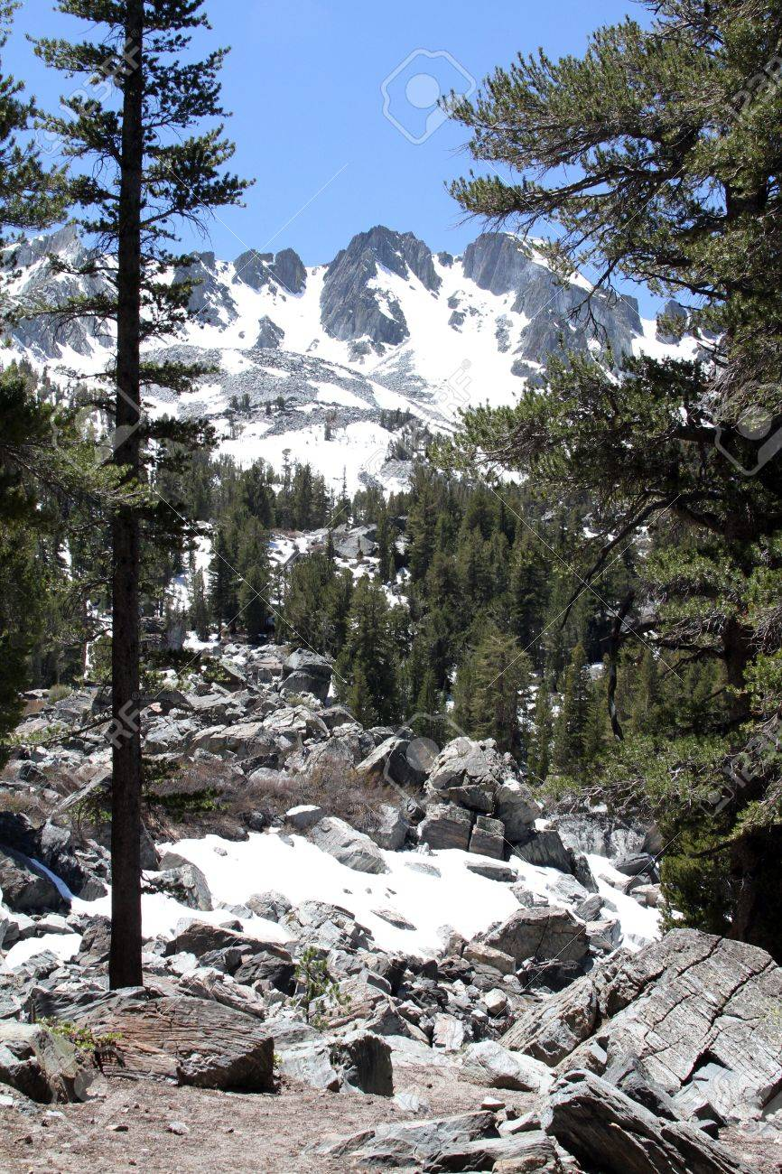 snow capped mountains in trail to emerald lake mammoth lakes