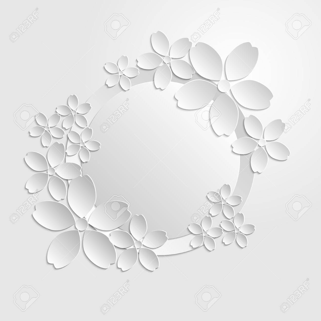 Decorative white paper cut border with white paper flowers 3d decorative white paper cut border with white paper flowers 3d paper composition on white background mightylinksfo