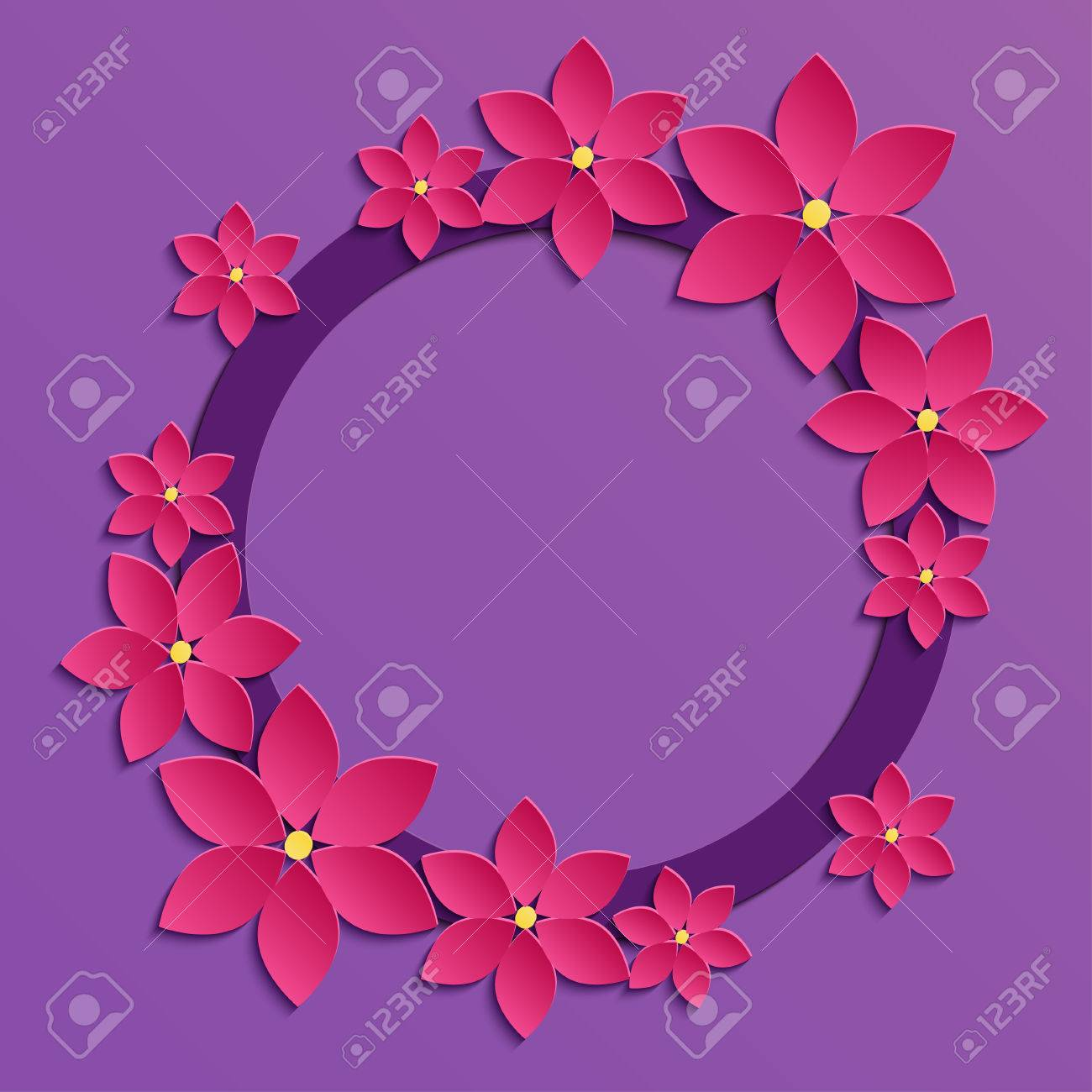 Decorative Violet Paper Cut Border With Pink Paper Flowers 3d