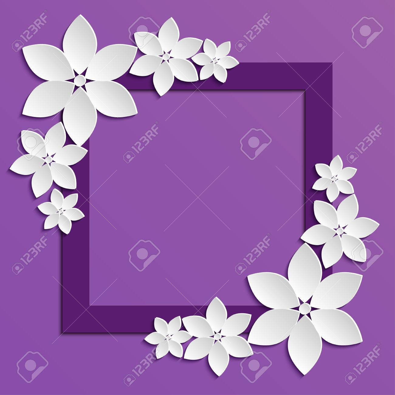 Decorative Violet Paper Cut Border With White Paper Flowers