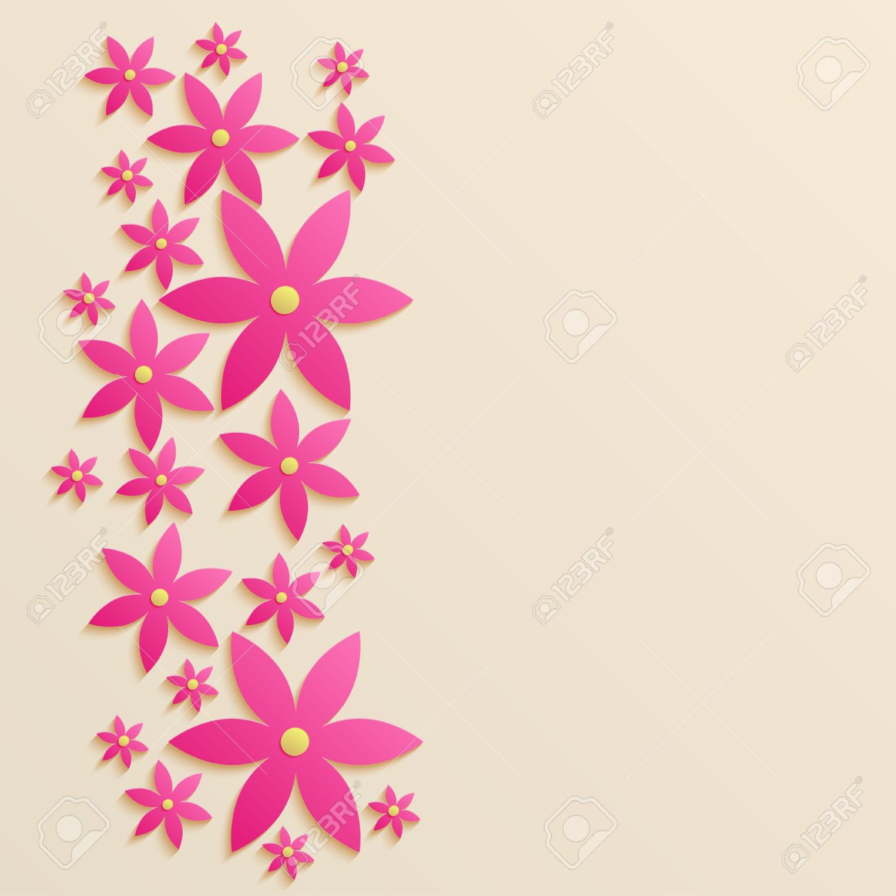 Paper Background With Pink Flowers 3d Paper Illustration Royalty