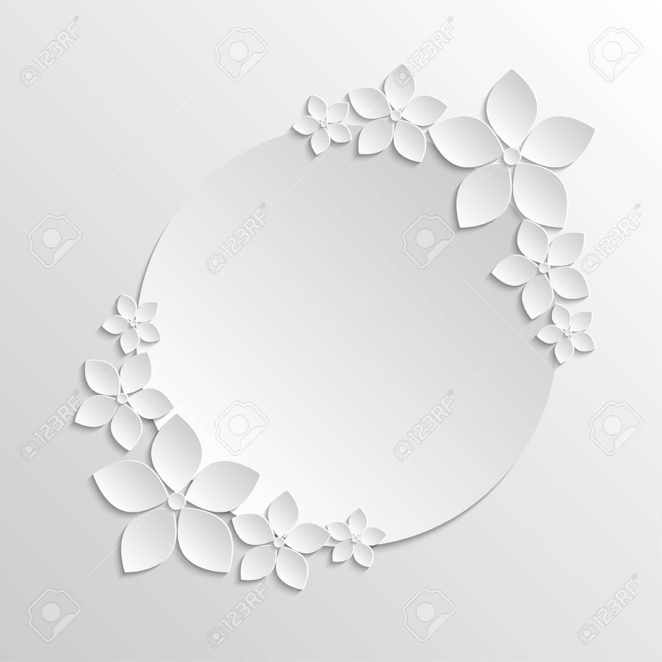 Background image grayscale - Paper Badge Template With Paper White Flowers On Grayscale Background Stock Vector 41162008