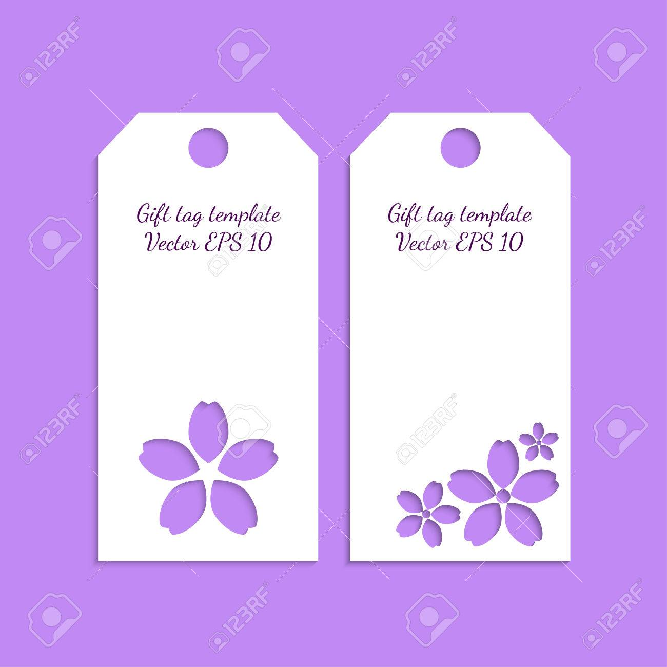 Paper Gift Tag Template With Flower Ornament On Lilac Background