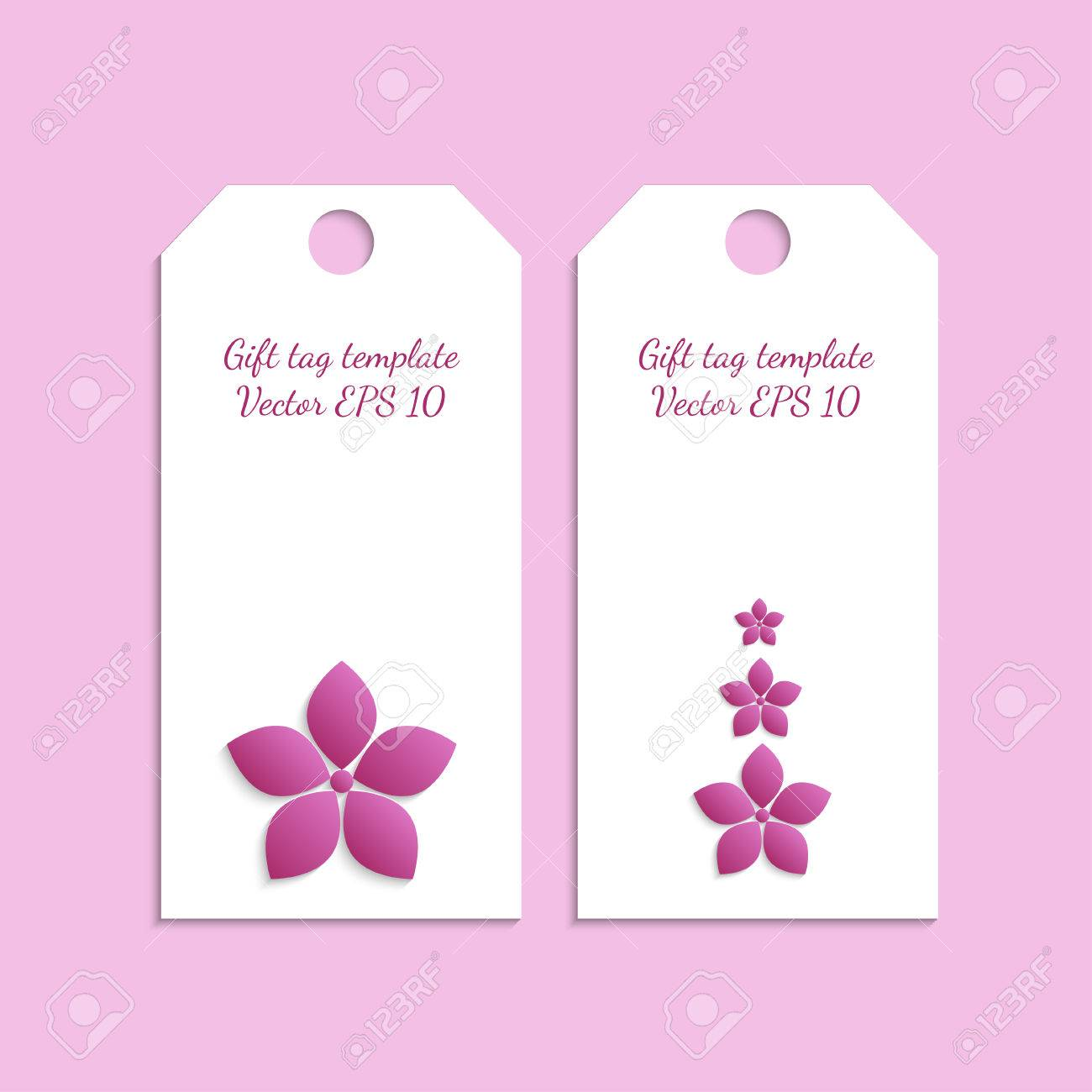 paper gift tag template with flower ornament on pink background