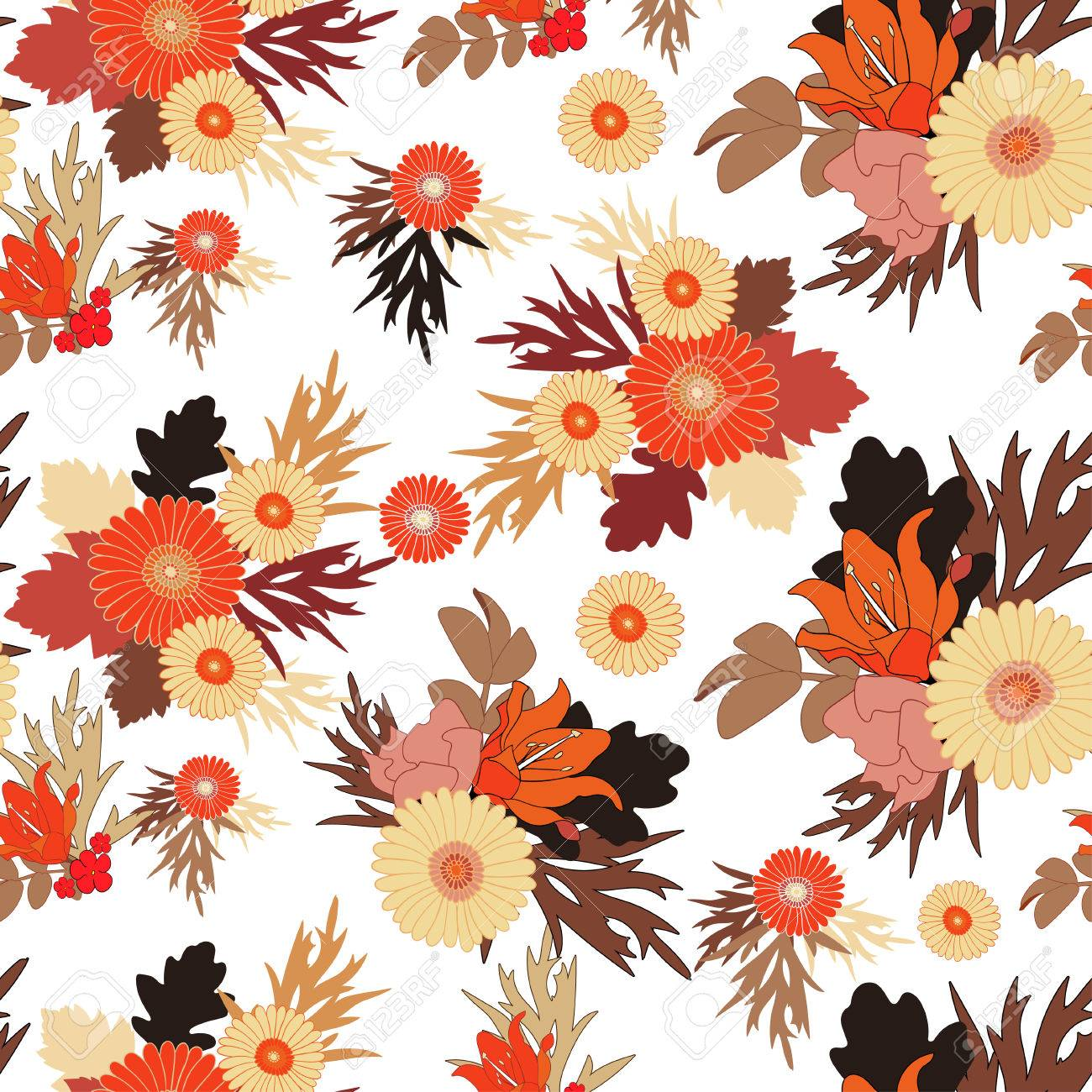 Seamless Fall Flower Pattern On White Background Autumn Flowers