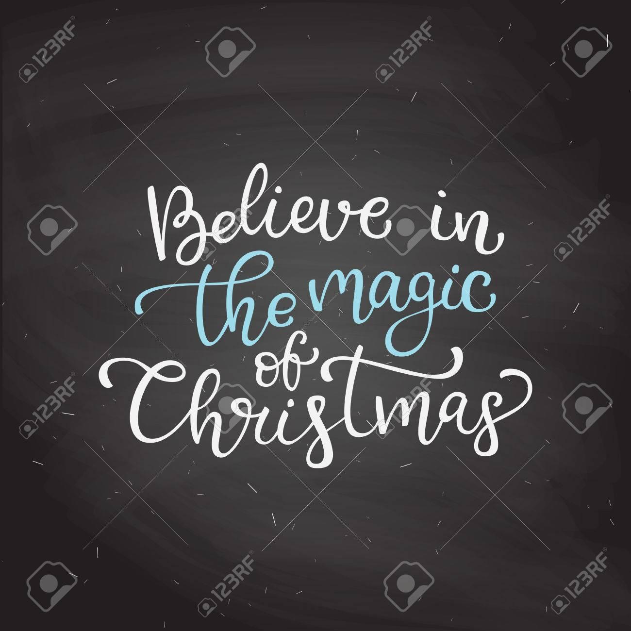 Citaten Kerst En Nieuwjaar : Hand getrokken vector letters geloof in de magie van kerstmis