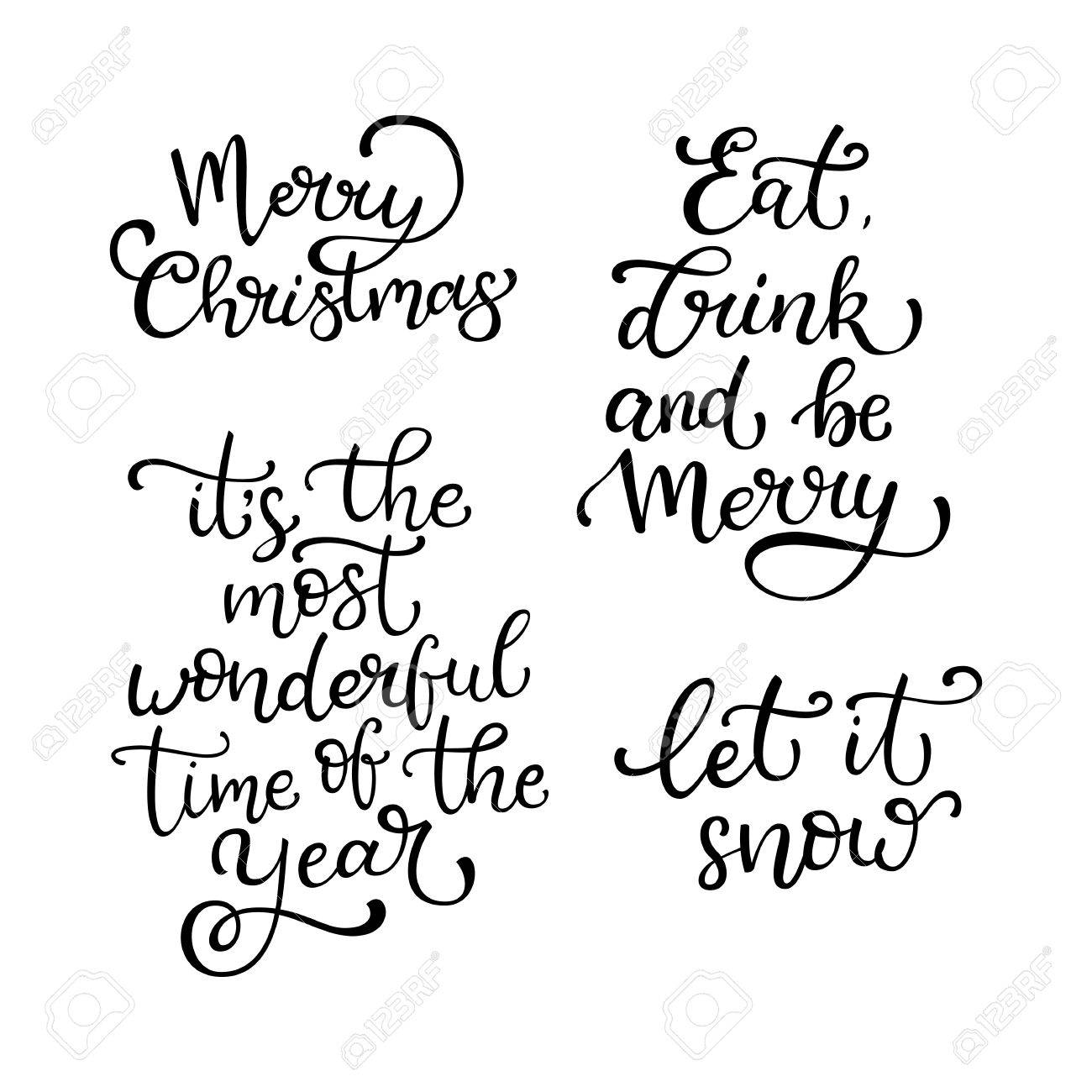 Quotes Christmas Set Of Hand Drawn Vector Quotesmerry Christmas.let It Snow