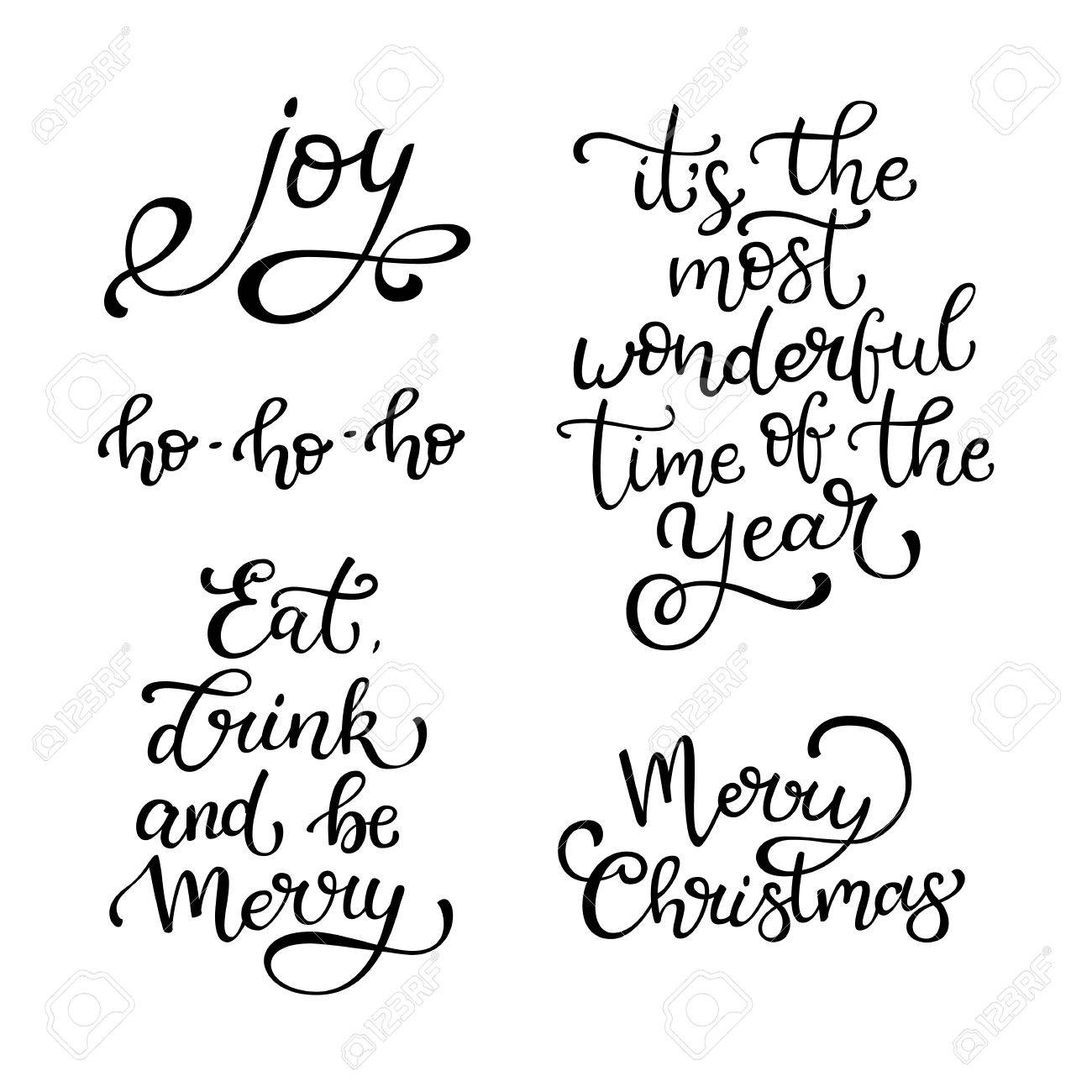 Quotes Christmas Set Of Hand Drawn Vector Quotesmerry Christmasjoyeat Drink