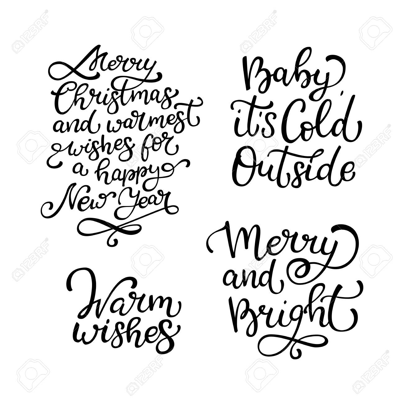 Set of hand drawn vector quotes.Warm wishes. Merry and Bright...