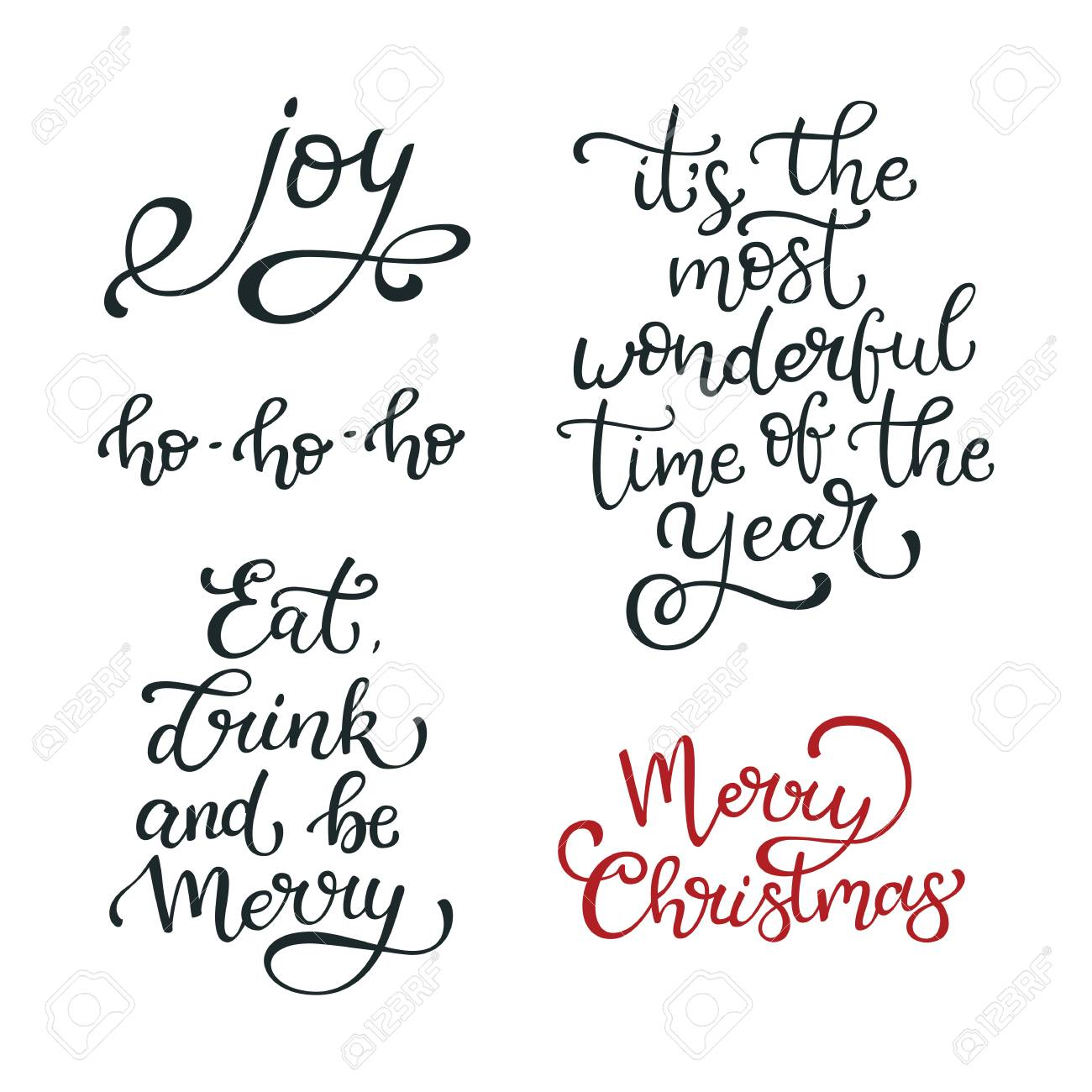 Set Of Hand Drawn Vector Quotes. Merry Christmas .Joy. Eat, Drink ...