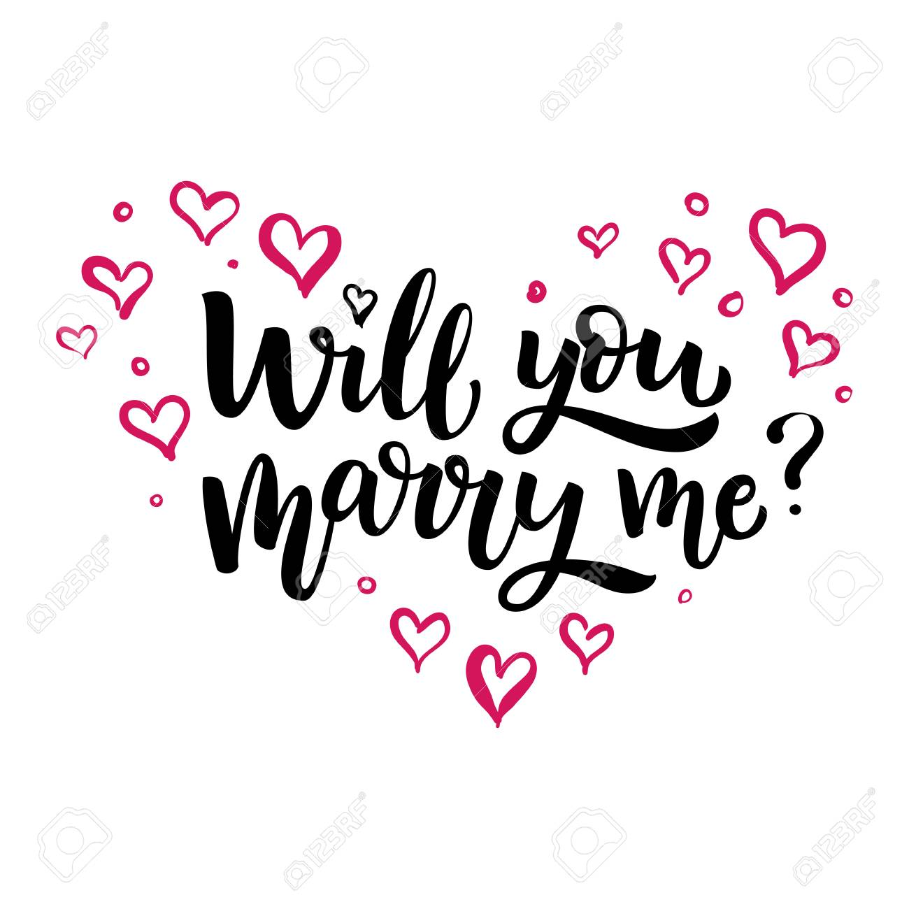 Hand drawn vector brush lettering Will You Marry Me Isolated..