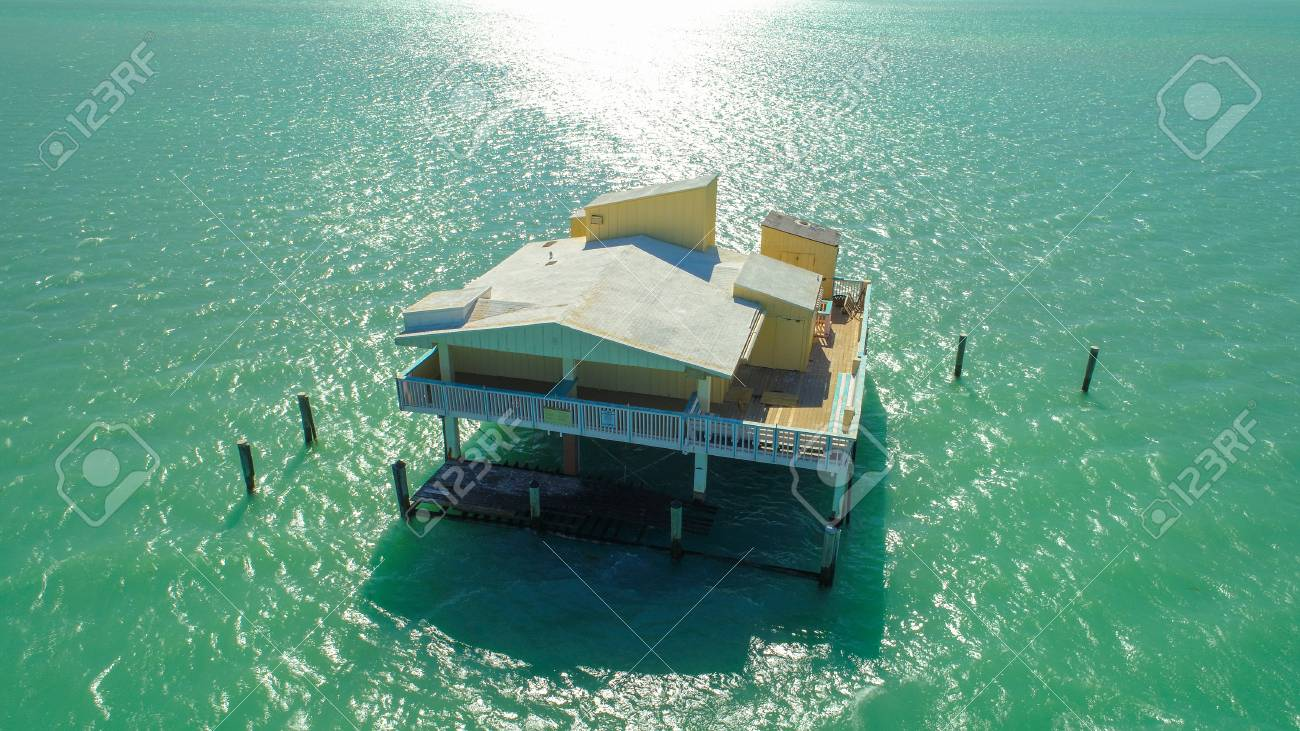 Aerial image of abandoned homes on stilts in Miami Florida - 93151317