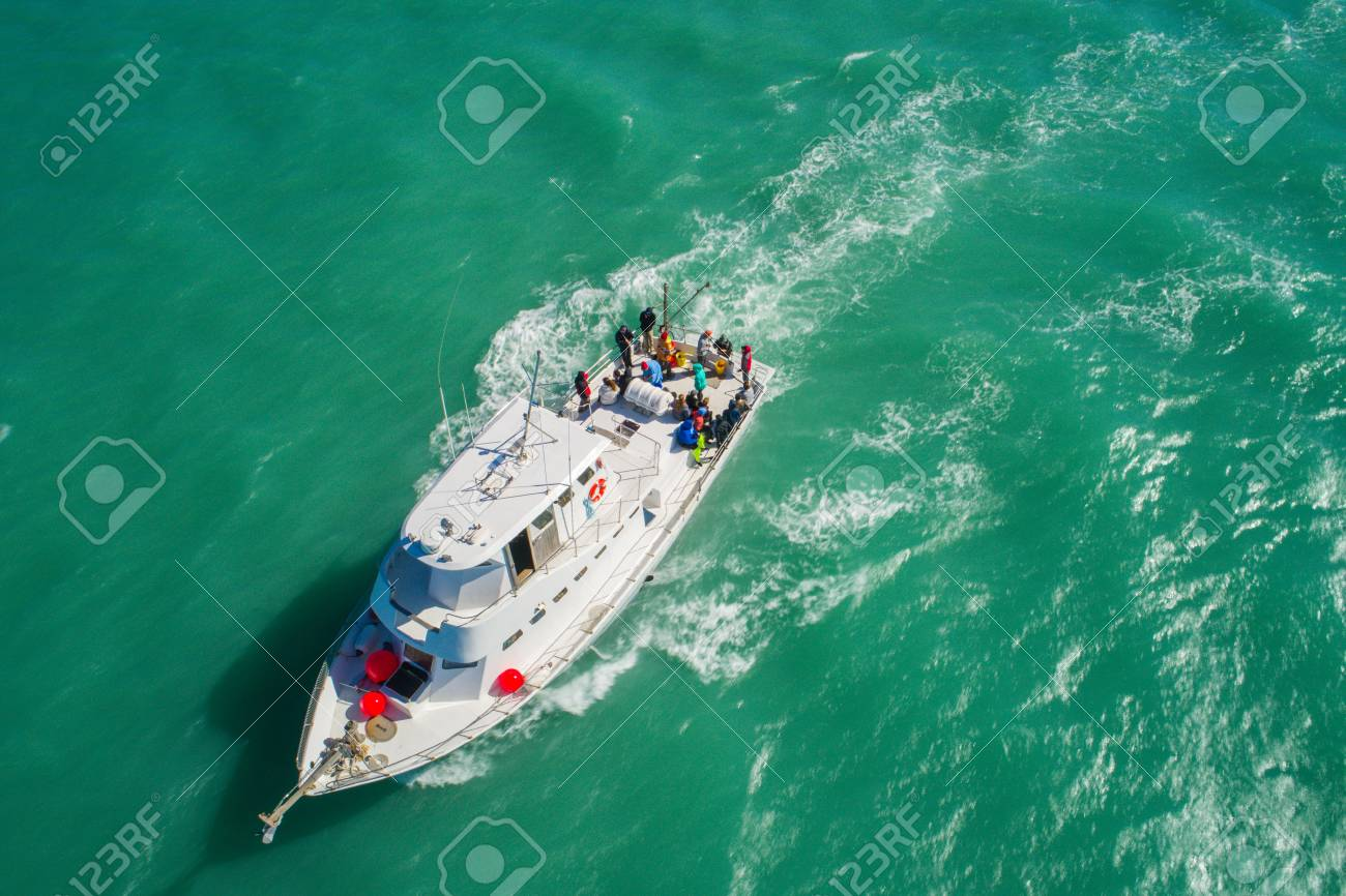 Aeial drone image of a fishing boat at sea - 95859283