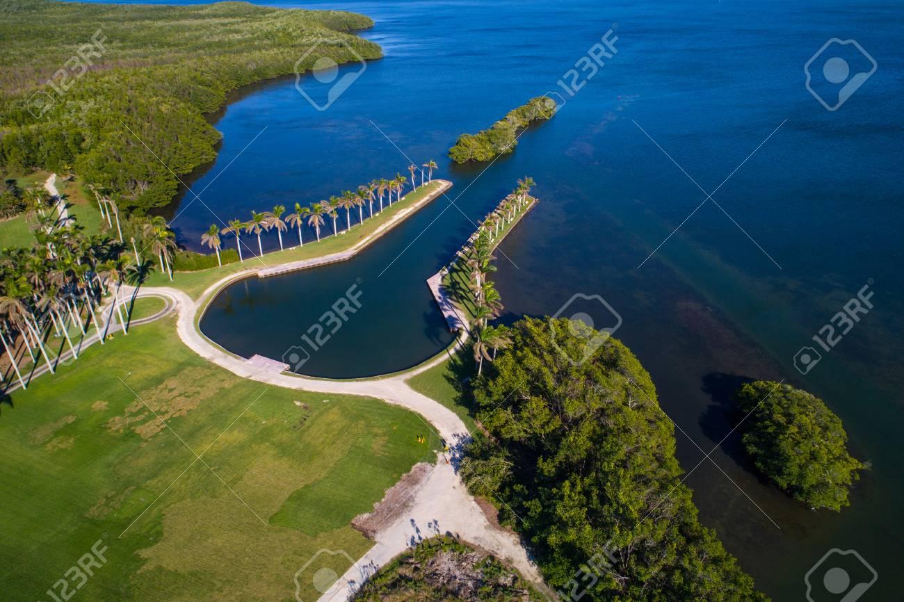 Drone photo of Deering Estate Miami FL bay landscape - 95859285