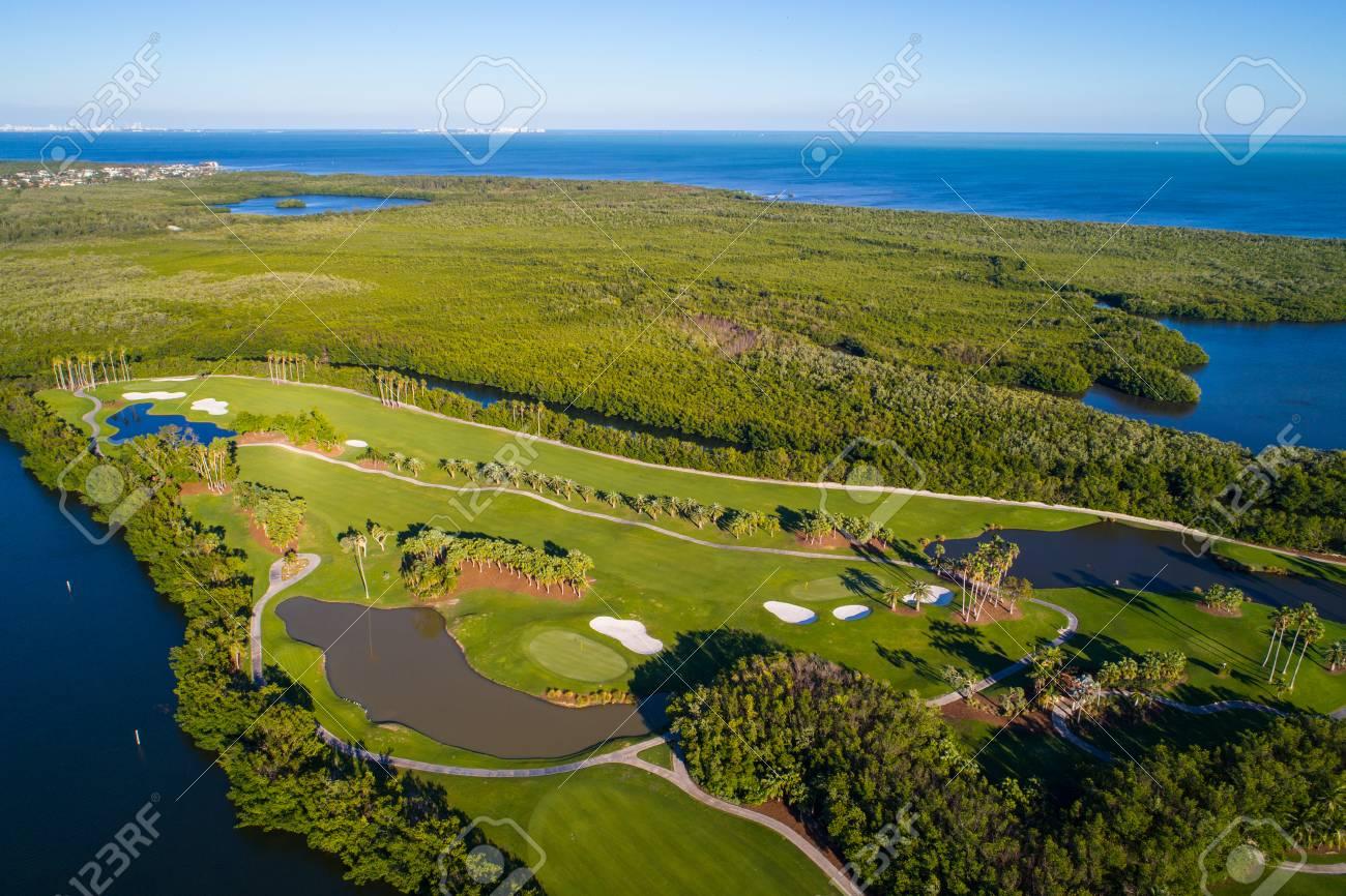 Ariel drone photography golf course landscape - 93151326