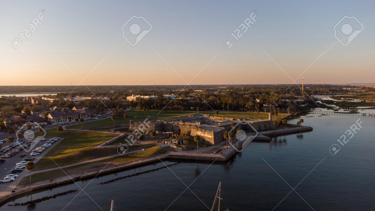 Castillo De San Marcos fort St Augustine Florida aerial photo at sunset - 161711410