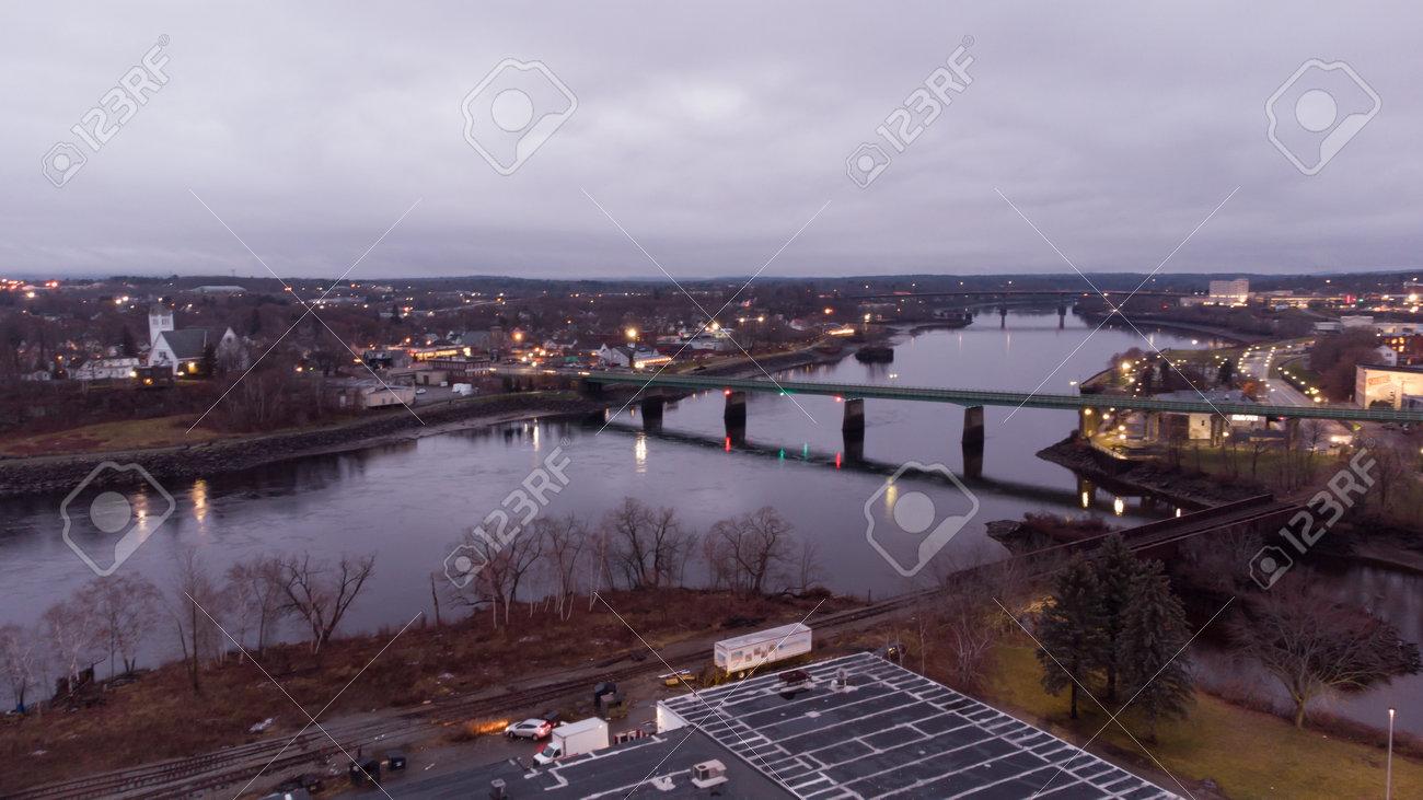 Aerial photo river in Bangor Maine USA - 161711423