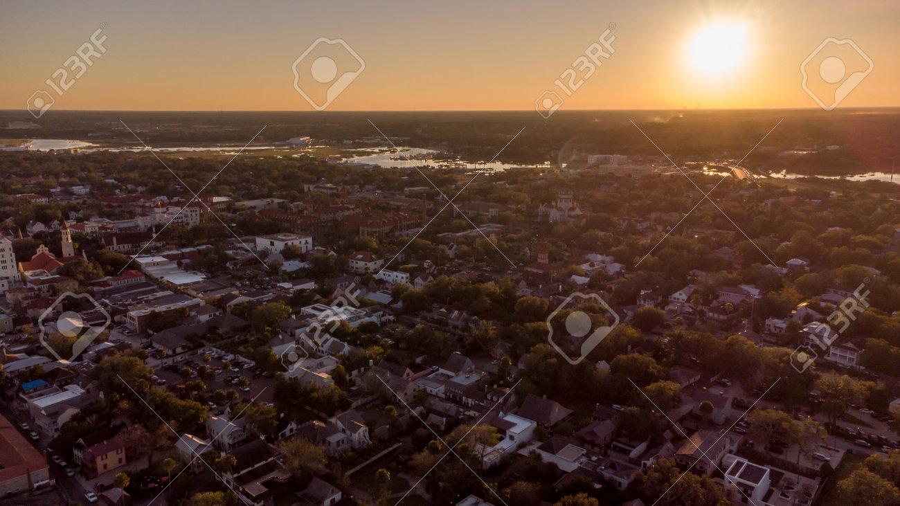 Aerial photo Sunset St Augustine Florida USA - 161711429