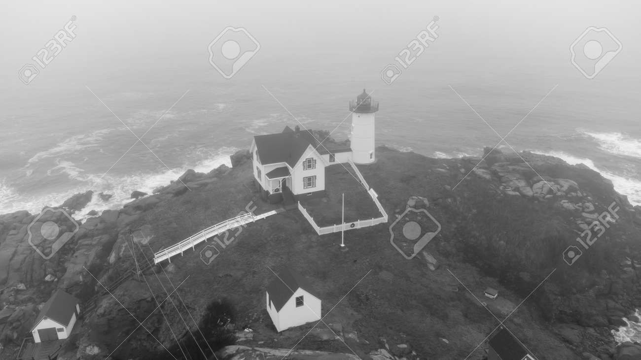 Aerial photo of the iconic Nubble Lighthouse York Maine USA black and white - 161711430