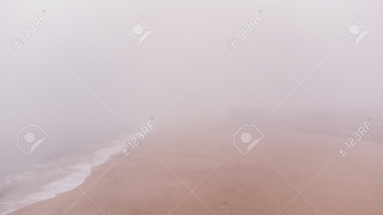 Heavy fog on the beach New Hampshire USA - 161257605