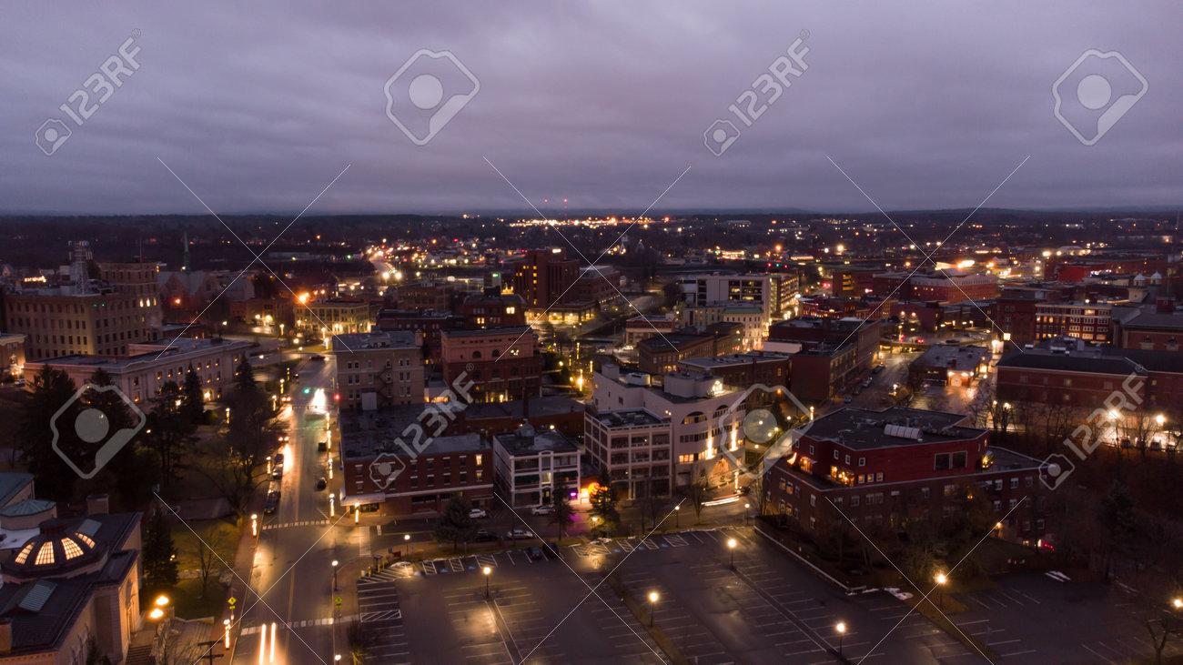 Aerial photo Bangor Maine at night twilight colors - 161264589