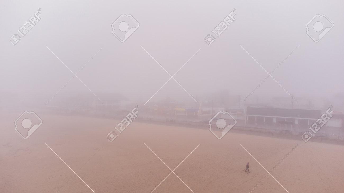 Winter season in Hampton Beach NH USA fog - 161264587